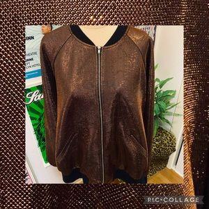Forever 21 Shiny Orange Jacket XL